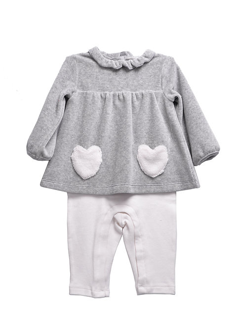 Zephyrine Baby Girls Grey Velour And Cotton Long Sleeve Outfit
