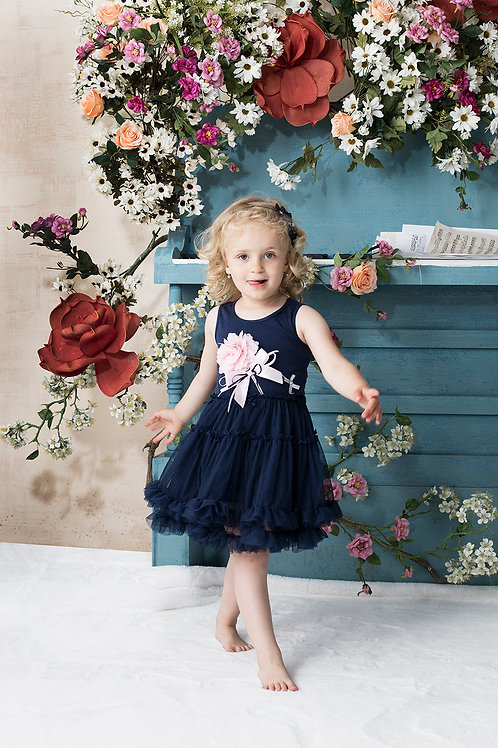 Josephine Navy Tutu Dress With 3D Pink Flower