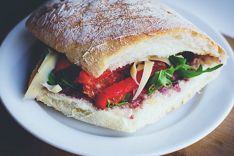 Salami panini with beetroot salsa