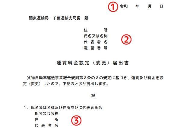 運賃料金設定届出書の記入方法