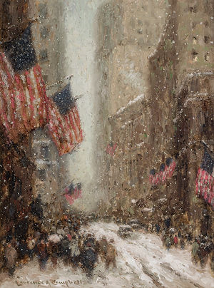 "LAURENCE A. CAMPBELL-""VIEW OF WALL STREET IN WINTER"""