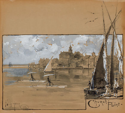"""CHURCH POINT,"" PORTSMOUTH  (ILLUSTRATION FOR ""PEDALING ON THE PISCATAQUA"")"