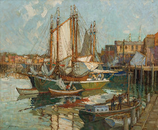 FREDERICK J. MULHAUPT-Evening Glow - Gloucester Harbor