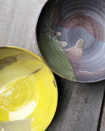 Sæt med to Pura Raw skåle i gul/grøn