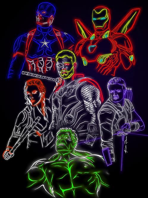 Neon Avengers A5 digital print