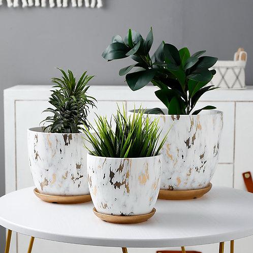 Olivia Golden Marble Pattern Ceramic Plant Pot, Flower Pots, Planter