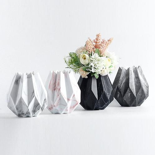 Frida Ceramic Marble Pattern Plant, Flower Vase