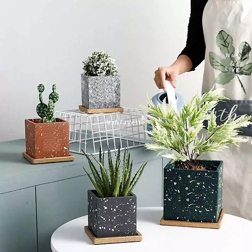 Modern Square Ceramic Plant Pot, Flower Pot, Planter