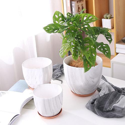 Heather Light Grey Marble Pattern Ceramic Plant Pot, Flower Pots, Planter