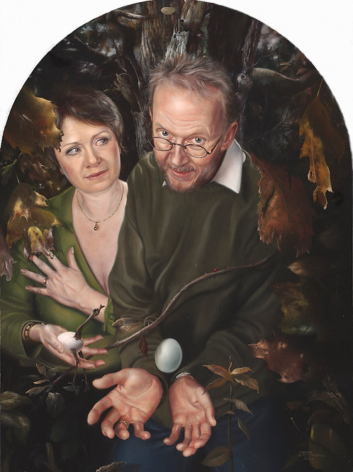 Mr. & Mrs. Brusen, 18 x 12, oil on wood panel