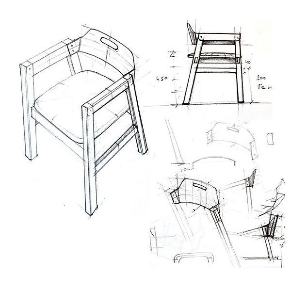 Conceptual sketch of a cafe chair named