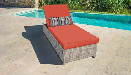 Vanilla Wheeled Chaise Outdoor Wicker Patio Furniture