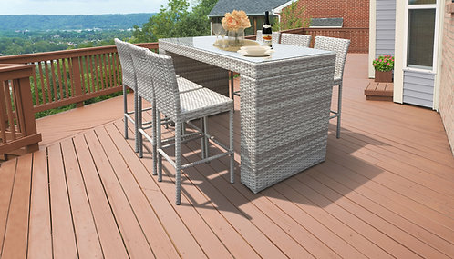 045 Bar Table Set With Barstools 7 Piece Outdoor Wicker Patio Furniture