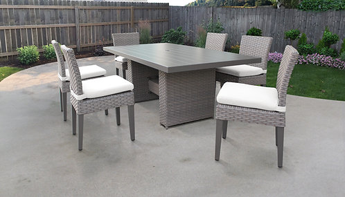 Florence Rectangular Outdoor Patio Dining Table with 6 Armless Chairs