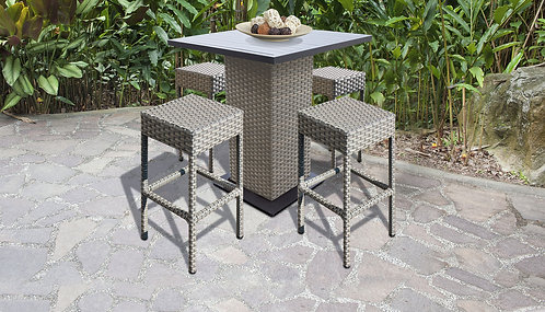 055 Pub Table Set With Backless Barstools 5 Piece Outdoor Wicker Patio Furn