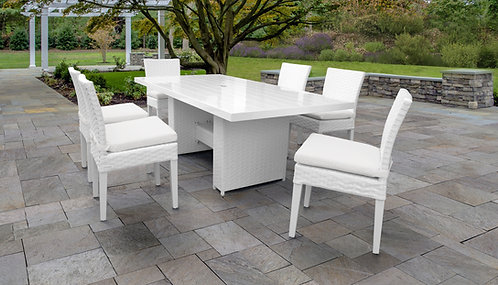 Miami Rectangular Outdoor Patio Dining Table with 6 Armless Chairs