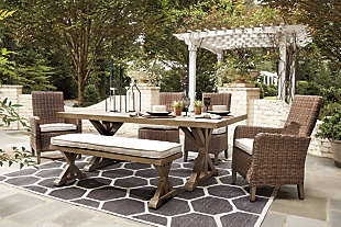 Beachcroft Outdoor Dining Table and 4 Chairs and Bench