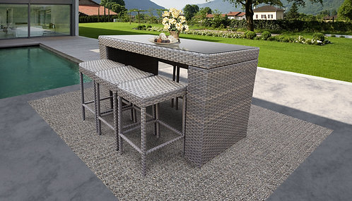 055 Bar Table Set With Backless Barstools 7 Piece Outdoor Wicker Patio Furn