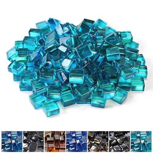 Azuria Blue 1/2 Reflective Fireglass Cubes - 10 lb bag