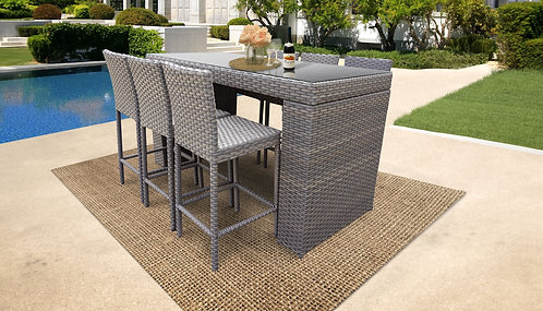 055 Bar Table Set With Barstools 7 Piece Outdoor Wicker Patio Furniture