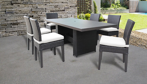 Belle Rectangular Outdoor Patio Dining Table with 6 Armless Chairs