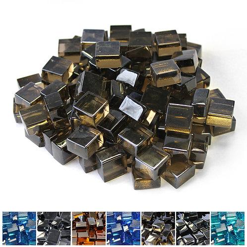 Black 1/2 Reflective Fireglass Cubes - 10 lb bag