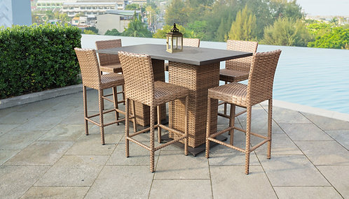 Laguna Pub Table Set With Barstools 8 Piece Outdoor Wicker Patio Furniture