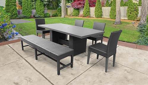 Belle Rectangular Outdoor Patio Dining Table With 4 Chairs and 1 Bench