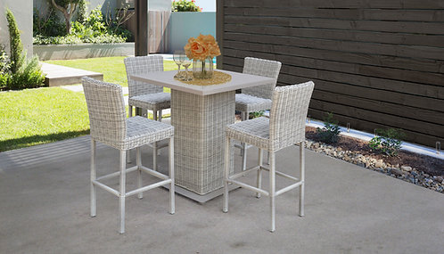 Coast Pub Table Set With Barstools 5 Piece Outdoor Wicker Patio Furniture