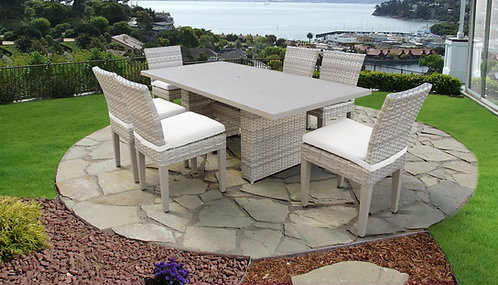 Fairmont Rectangular Outdoor Patio Dining Table with 6 Armless Chairs