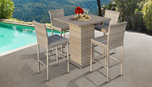 045 Pub Table Set With Barstools 5 Piece Outdoor Wicker Patio Furniture