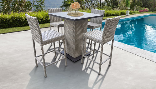 055 Pub Table Set With Barstools 5 Piece Outdoor Wicker Patio Furniture Gre