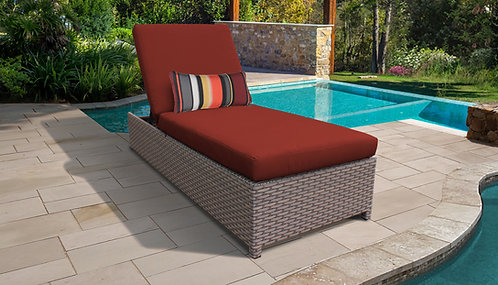 Stone Wheeled Chaise Outdoor Wicker Patio Furniture