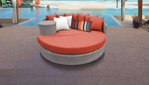Stone Circular Sun Bed - Outdoor Wicker Patio Furniture