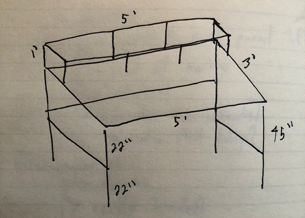 Drawing of early desk design.
