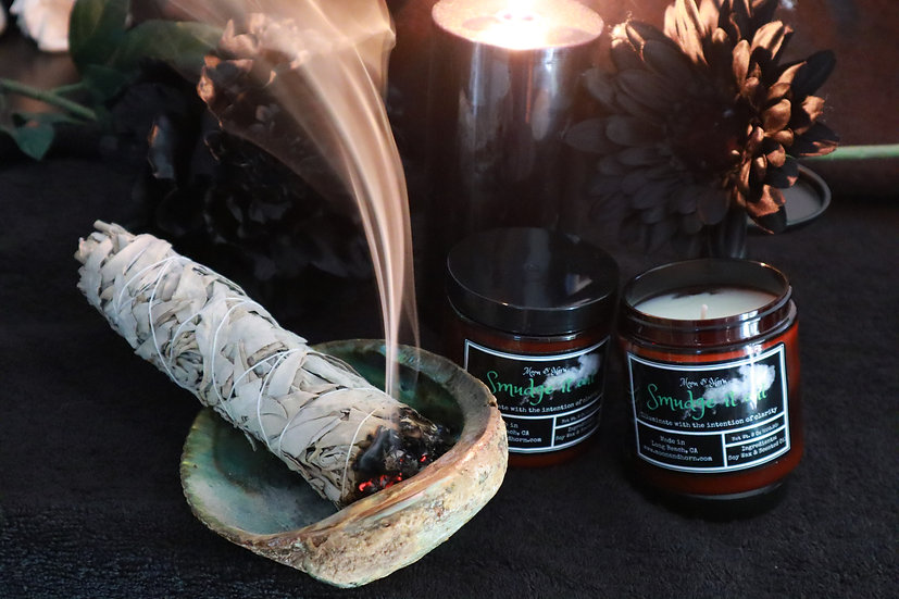 """Moon & Horn """"Smudge It out""""  Soy Wax Container Candle"""