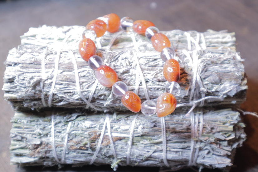 Carnelian Bracelet (small tumbled stones and glass beads)