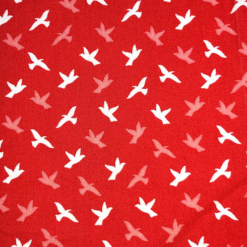 Cotton Face Mask - Coral Bird Silhouettes