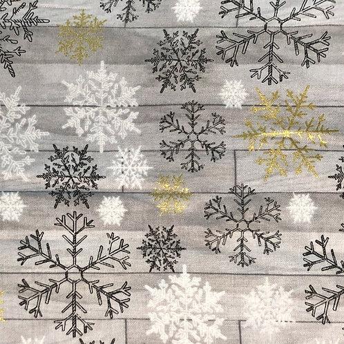 Cotton Face Mask - Grey Snowflakes
