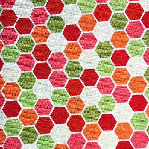 Cotton Face Mask - Pink & Green Hexagons