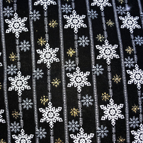 Cotton Face Mask - Black Snowflakes