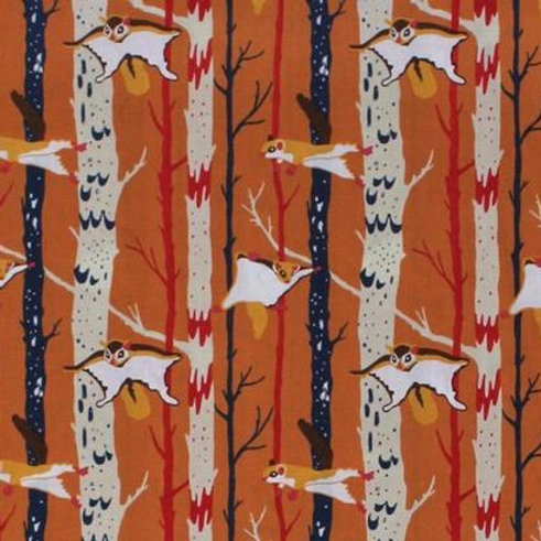 Cotton Face Mask - Orange Flying Squirrels