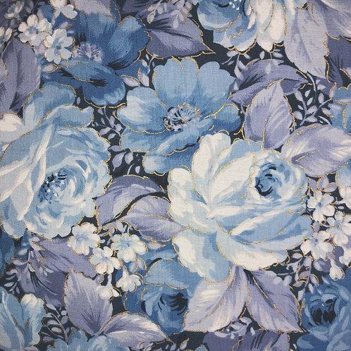 Windowed Face Mask - Blue Floral