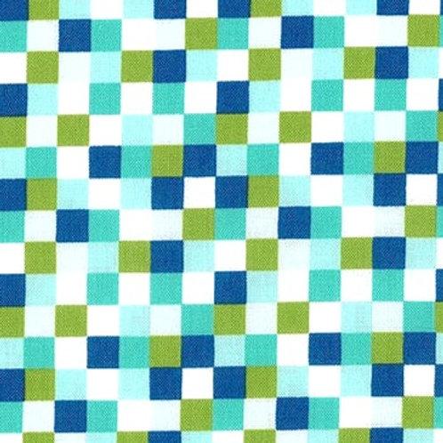 Cotton Face Mask- Blue & Green Check
