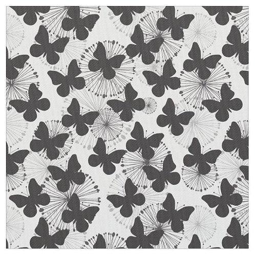 Cotton Face Mask - Black & White Butterflies 2