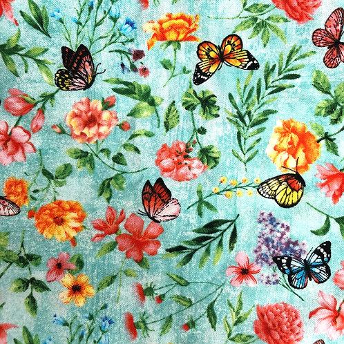 Cotton Face Mask - Floral Butterflies