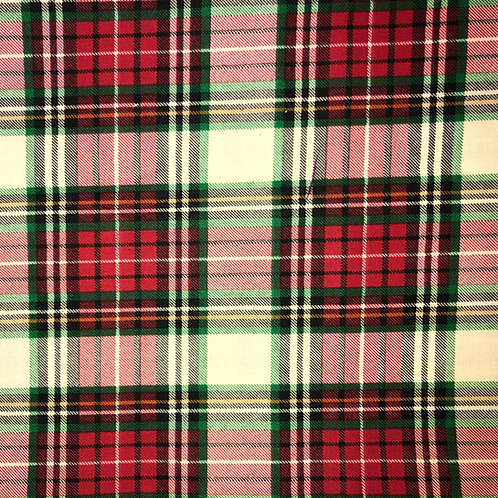 Cotton Face Mask -  Red & Green Plaid