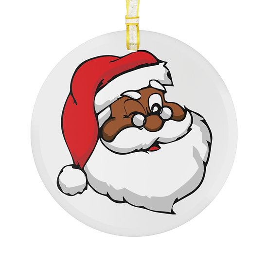 Black Santa Glass Ornament