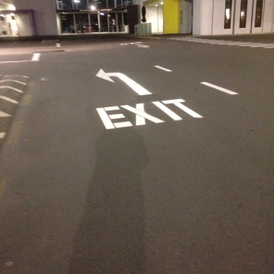 Exit road marking graphics