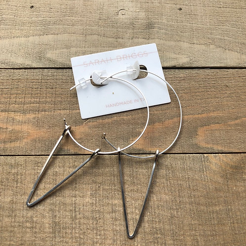 Sterling silver hoop with triangle